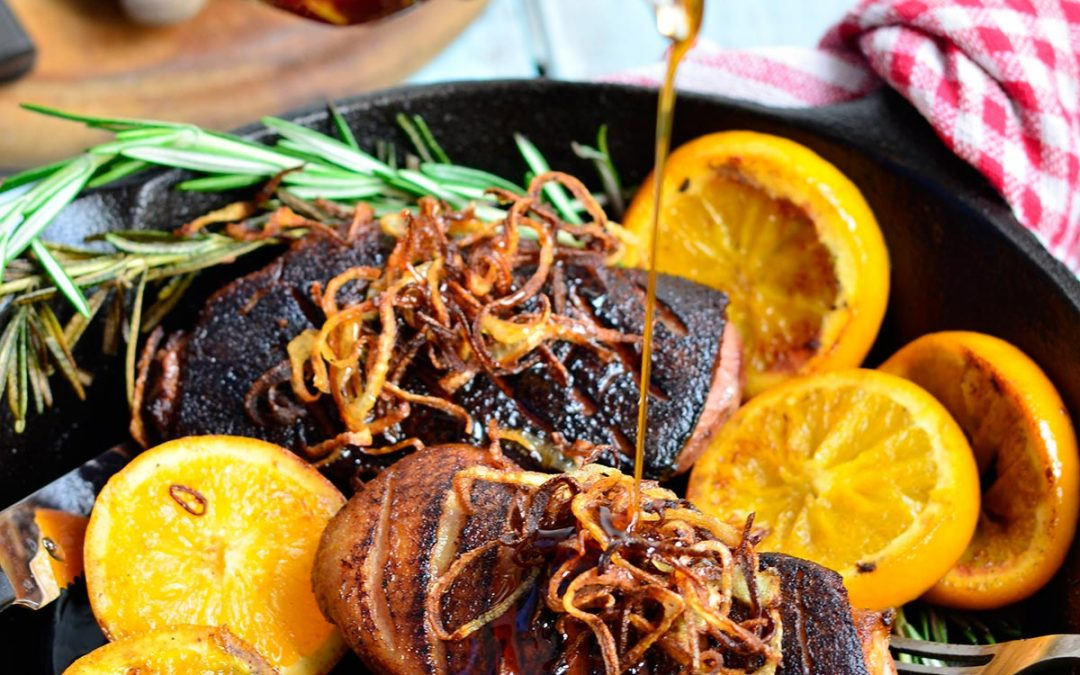 Pan Seared Duck with Orange and Rosemary, Served with Crispy Shallots and Maple Gastrique